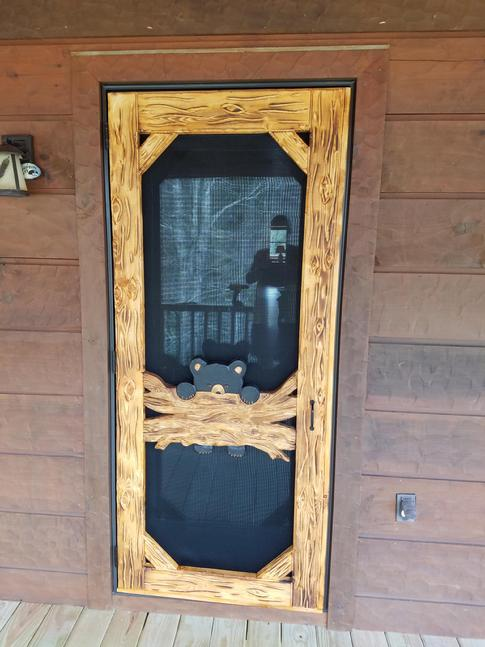 #2 - Bear Cub Hanging on Log - $450.00 (includes hardware) & Custom Carved Screen Doors ***Shipping Available***
