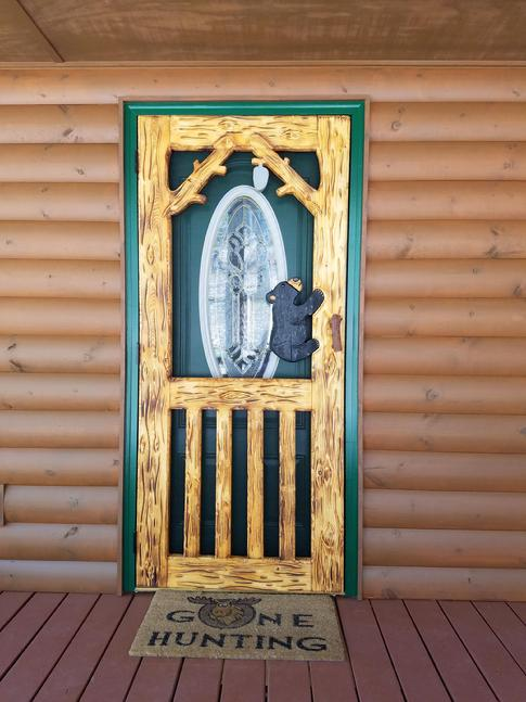 Custom carved screen doors shipping available - 30 x 80 exterior door with pet door ...