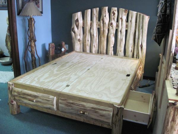 cedar log platform bed 1